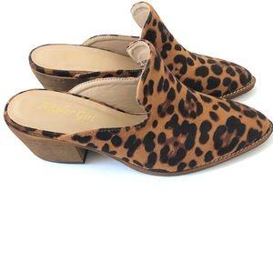 Cheetah Print Slip On Mules